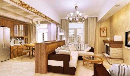 Интерьер гостинной совмещенной с кухней 21