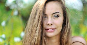 Beautiful girl face - closeup outdoor portrait