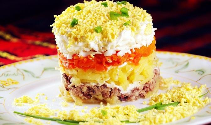 рецепт салата мимоза с рисом фото пошагово в