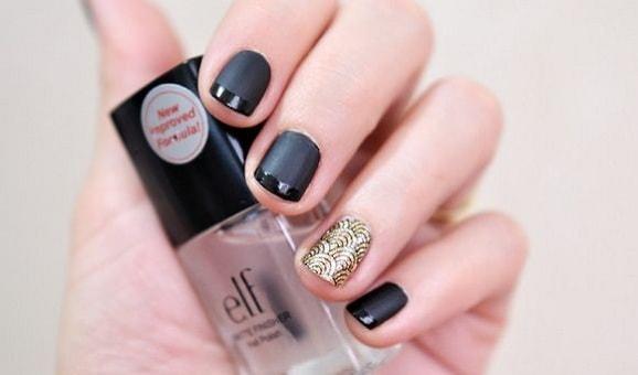 маникюр на короткие ногти фото черный