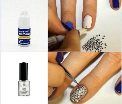 Как клеить стразы на ногти