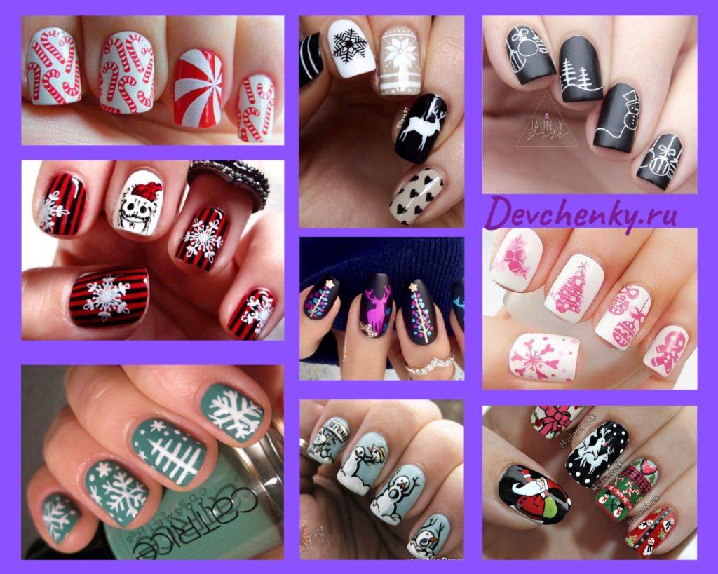 оригинальный новогодний дизайн ногтей